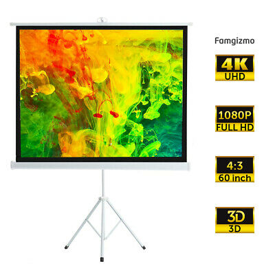 £37.99 • Buy 60  Portable Tripod Projector Screen Matte Pull Down Projection Home Cinema 4:3