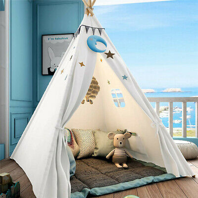 AU39.94 • Buy Large Teepee Tent Kids Cotton Canvas Play House Boy Girls Wigwam Gift White Pink