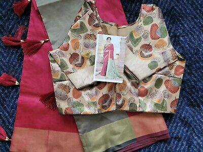 £26.99 • Buy Silky Smooth Shiney Saree Blouse Stitched To Large Size Can Be Adjusted To A XL