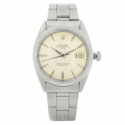 $ CDN4620.52 • Buy Rolex Date Engine Turned Bezel Silver Dial Automatic Mens Watch 1501