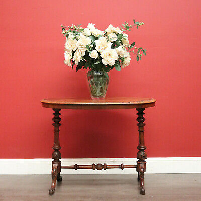 AU850 • Buy Antique English Centre Table, Burr Walnut Hall Table, Lamp Side Occasional Table