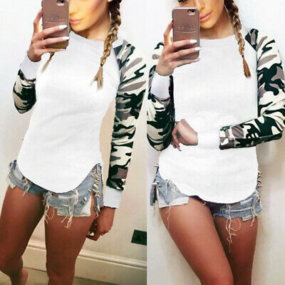 Women Camouflage Long Sleeve Jumper Pullover Casual Sweatshirt Stitching Tops • 11.12£