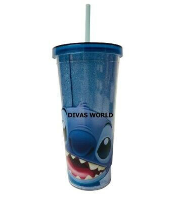 £16.99 • Buy Disney Lilo & Stitch Tumbler Coffee Cup With Blue Lid & Drinking Straw Brand New