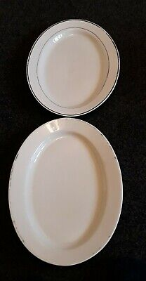 £6.50 • Buy 2 Large Heavy White Serving Vintage Plates. 36cms Long.