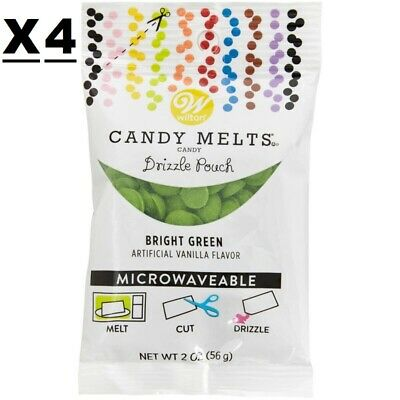 4 Pack Wilton Bright Green Candy Melts Drizzle Pouch 8 Oz Total 2 Oz Ea Cake Pop • 10.72£