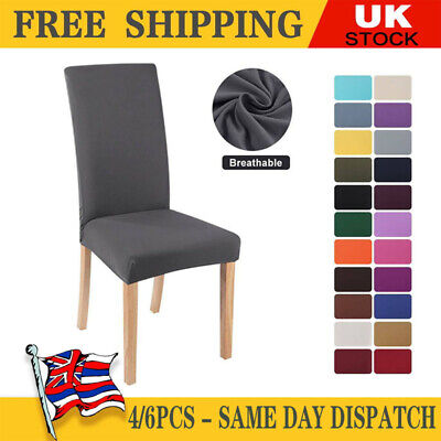 £10.06 • Buy HOT 4/6PCS Dining Chair Seat Covers Slip Stretch Wedding Banquet Party Removable