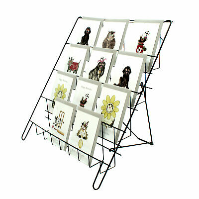 £21.98 • Buy  Greeting Card Display Stand In Black 4 Tier Wire Book Magazine Counter (E8B)