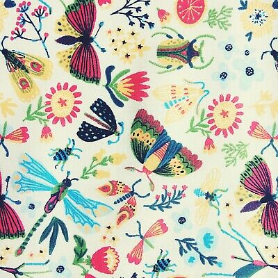 £3.89 • Buy NEW! GIRLS Children's BUTTERFLY Beetles Dragonfly Cream Polycotton FABRIC Craft