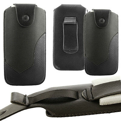 £3.99 • Buy Universal Leather Belt Pouch Case Cover Holster Pull Up Strap For Mobile Phones