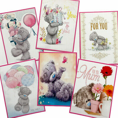 £2.39 • Buy 6 Cute Teddy Card Toppers/Pictures Birthday For Card Making/Tags SET1 -Silk Card