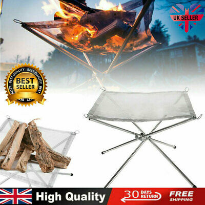 £14.23 • Buy Folding Mesh Fire Pit Portable Fire Pit Bonfire Stand Outdoor Camping Patio UK