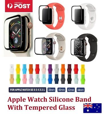 AU7.99 • Buy Silicone Strap Wrist Band & Tempered Glass For Apple Watch Series 1/2/3/4/5/6/SE