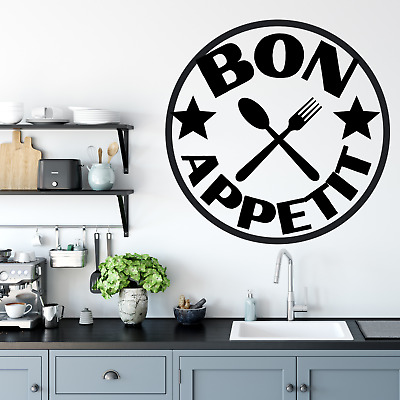 £12.99 • Buy Wall Art Stickers Bon Appetit  Removable Home Decals, Kitchen Quotes D
