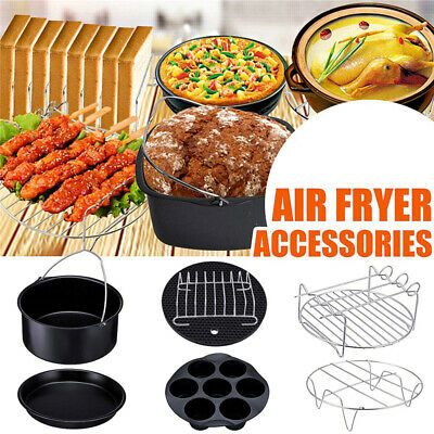 AU23.89 • Buy 8 Inch Air Fryer Accessories Frying Cage Dish Baking Pan Rack Pizza Tray Pot AU