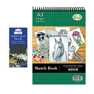 £8.09 • Buy A3 Spiral Sketch Pad 30 Sheets 130gsm Cartridge Paper And 12 Watercolour Pencils