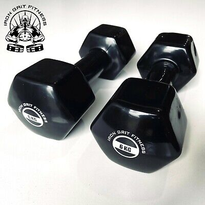 AU69.95 • Buy Iron Grit Fitness 6kg Dumbbell Pair Vinyl Coated - Weightlifting Gym Weights