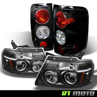 $199.94 • Buy Black 2004-2008 Ford F-150 Halo Projector LED Headlights +Tail Lights Left+Right