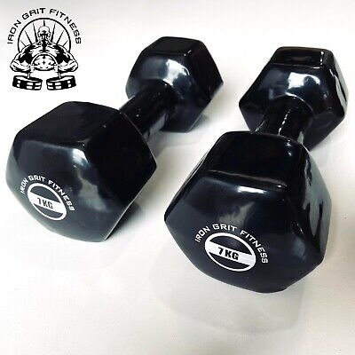 AU79.95 • Buy Iron Grit Fitness 7kg Dumbbell Pair Vinyl Coated - Weightlifting Gym Weights
