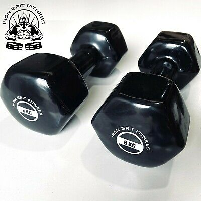 AU89.95 • Buy Iron Grit Fitness 8kg Dumbbell Pair Vinyl Coated - Weightlifting Gym Weights