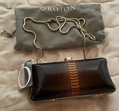 AU120 • Buy New Oroton Muse Clutch Shoulder / Crossbody Bag Snake Print Brown And Gold