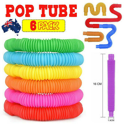 AU12.19 • Buy New 6Pcs Fidget Pop Tube Toys For Kids And Adults, Pipe Sensory Tools Relief AU