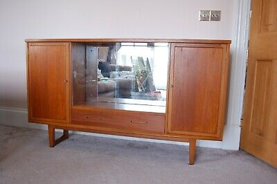 £145 • Buy Vintage Mid Century Glazed Bookcase Sideboard Drinks Cabinet With Mirrored Back