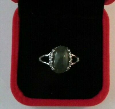 £14.50 • Buy Russian Nephrite Jade Cabochon Ring 11x9mm 4.8ct Adjustable 925 Silver Setting