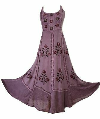 AU46.10 • Buy Boho Maxi Dress Strappy Sleeve Rayon Embroidered Lilac One Size 14 16 18