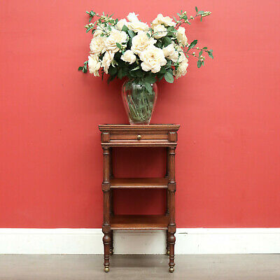 AU695 • Buy Antique French Lamp Table, Antique Oak 2 Tier Side Table With Drawer To Apron