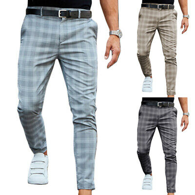 $ CDN37.39 • Buy Mens Checked Slim Fit Trousers Casual Skinny Jogging Office Formal Bottoms Pants