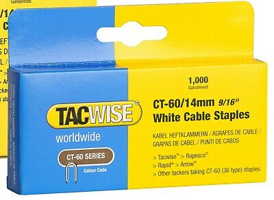 £4.75 • Buy  Tacwise CT-60/14mm  White Cable Tacker Staples (Box Of 1000 )  0357