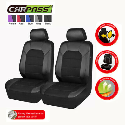 AU47.49 • Buy Universal 2 Front Black Car Seat Covers Airbag Compatible Breathable For SUV VAN