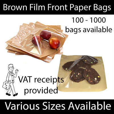 £4.99 • Buy Brown Clear Film Front Paper Bags Food Sandwich Pastries Cellophane Window Bag