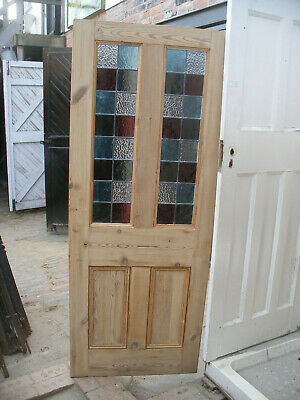 £350 • Buy Reclaimed Victorian / Edwardian Stripped Pine, Stained Glass Door