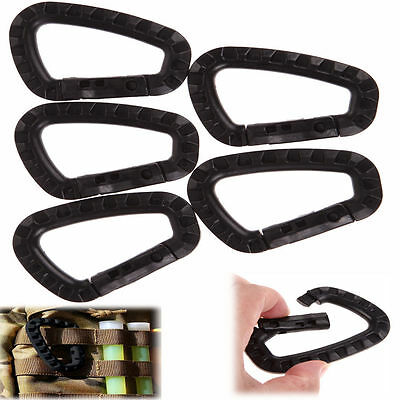 £4.12 • Buy 5pcs Outdoor Carabiner D-Ring Key Chain Clip Hook Camping Plastic Buckle RZ6