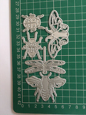 £7 • Buy 5pcs Detailed Insects Die Set - Ladybird - Beetle - Dragonfly - Moth - Bee/Wasp