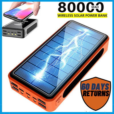 AU51.62 • Buy 80000mAh Power Bank Solar Or Wireless Portable Phone Fast Charging 4 USB Charger