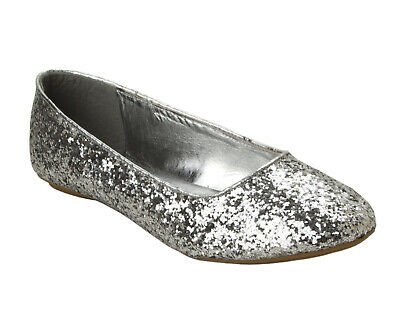 £9.95 • Buy Womens Silver Glitter Wedding Party Flat Ballet Dolly Pumps Shoes Ladies Uk Size