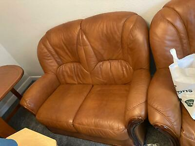 Brown Leather 3 Piece Suite • 25£