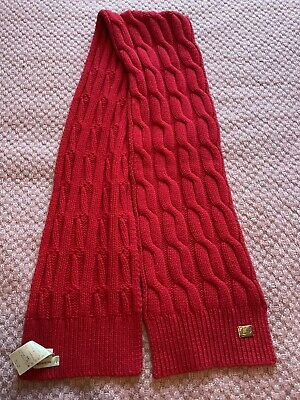 £30 • Buy Burberry Wool Cashmere Cable Knit Scarf Red Excellent Condition