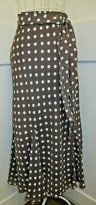 Women's Coffee/cream Spotted Lined Midi Godet Skirt Size 14 Classics • 4.99£