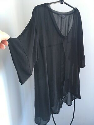 AU89.99 • Buy E-DESIGN By EUPHORIA NZ Black Frill Front Panel Design Floaty Top-16 NEW!!