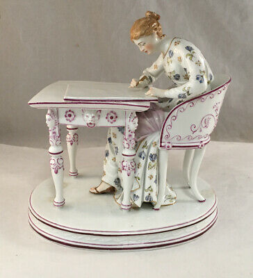 $ CDN376.54 • Buy Antique Ludwigsburg German 19th Century Porcelain Figure Lady Seated At Desk