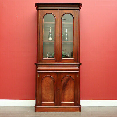AU895 • Buy Vintage Australian Cedar Bookcase With Cedar And Glass Shelves, China Cabinet