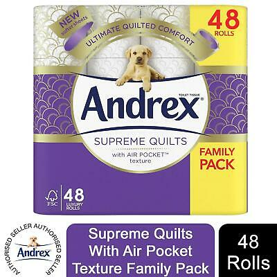 £24.49 • Buy 48 Rolls Andrex Toilet Roll Supreme Quilts Fragrance-Free 4 Ply Toilet Paper
