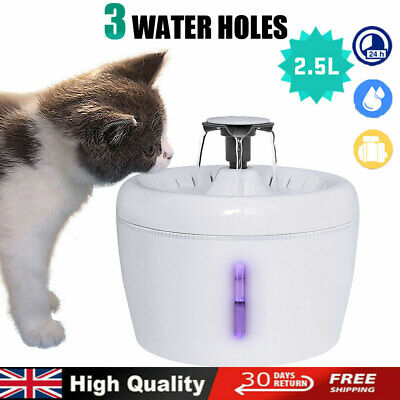 Automatic Electric Pet Dog Cat Water Fountain/Charcoal Filter Drinking Dispenser • 19.99£
