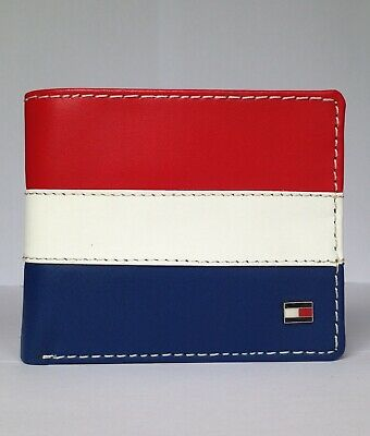 £17.99 • Buy Men's Leather Wallet 'TOMMY HILFIGER' RED,WHITE, BLUE, Bifold, Slots,Coin Pouch