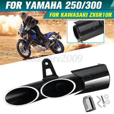 $40.99 • Buy 38-51mm Motorcycle Carbon Fiber Dual Outlet Exhaust For Suzuki GSXR600 GSXR750