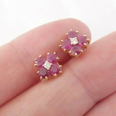 £250 • Buy 14ct Gold Natural Ruby Diamond Cluster Earrings Boxed