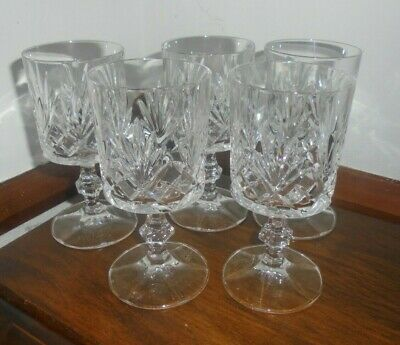Royal Crystal Rock 5 STUNNING WINE GLASSES ITALIAN  5.5 INCHES TALL STAMPED • 9.99£